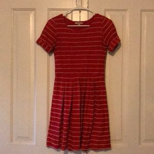Red anthro dress with scalloped stripe detail